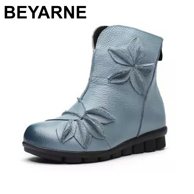 BEYARNE New Winter Shoes Women Cow Leather Flower Shoes Med Heel Breathable Ankle Boots Genuine Leather
