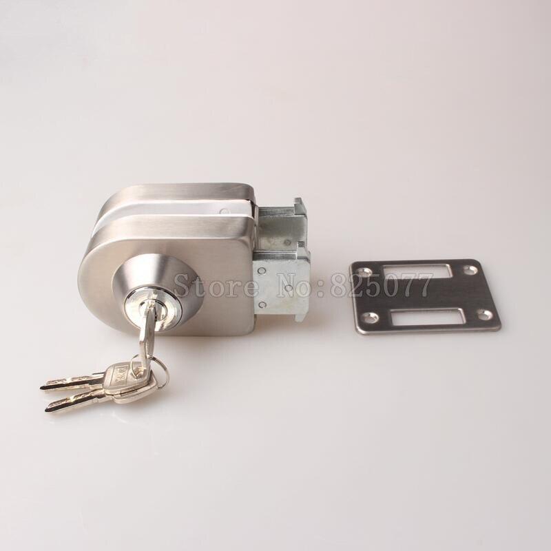 Free Shipping 1PCS Stainless Steel Frameless Single Glass Door Lock w 3 Keys for 10~12mm Glass Door No Drilling