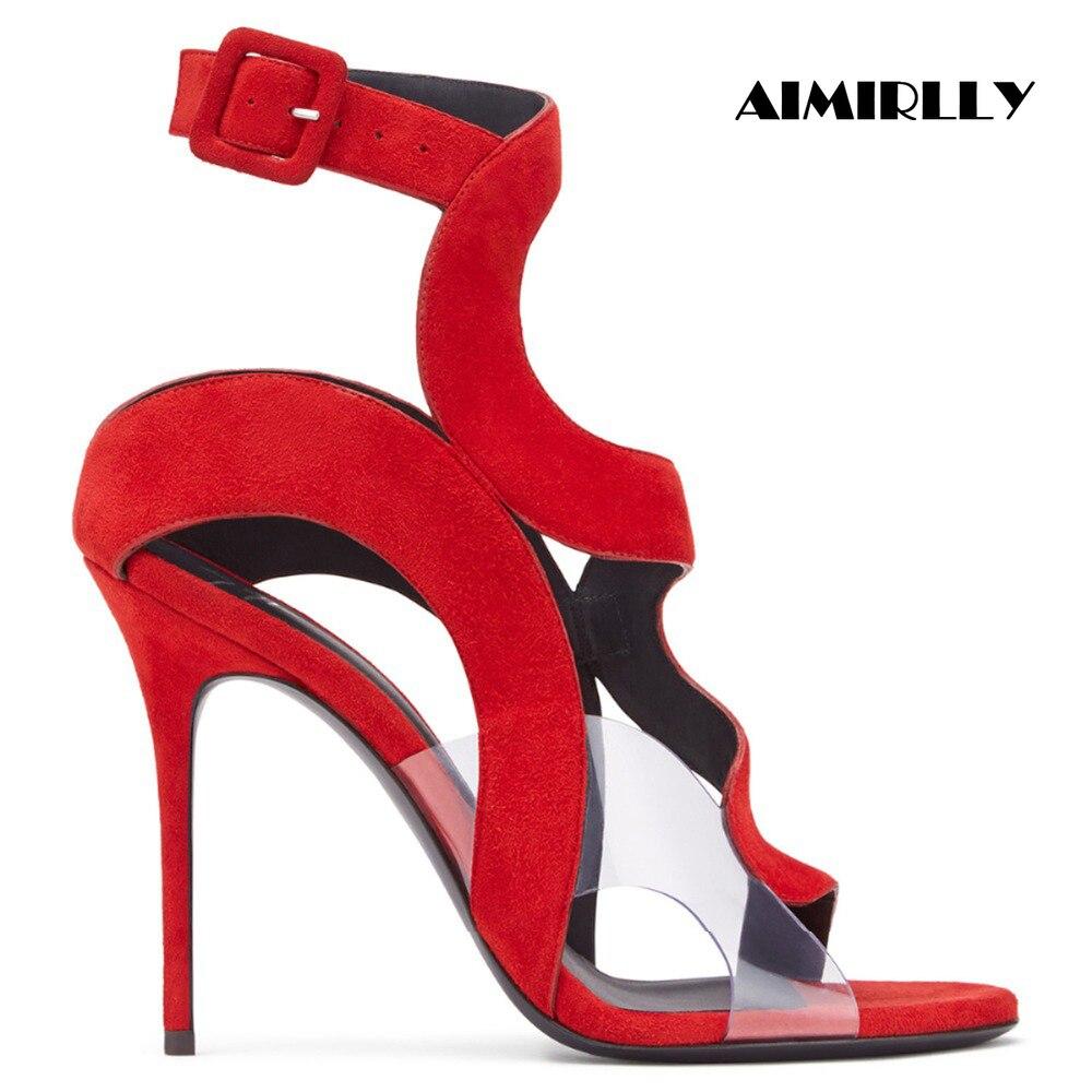 Frauen Sandalen High Heels Schuhe Offene spitze Ankle Strap Einstellbare Schnalle Rot Blau Faux Wildleder & PVC Heels Damen Partei hochzeit Tragen-in Hohe Absätze aus Schuhe bei  Gruppe 1