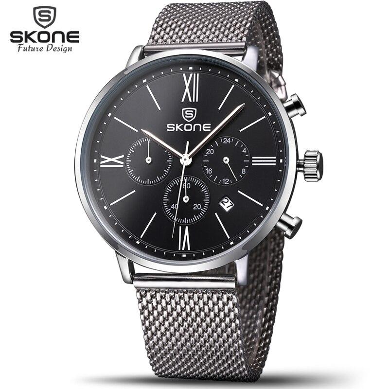 Skone FashionS Thin Clock Mens Watches Chronograph 24 Hours Function Men Mesh Waterproof Quartz Wristwatches Relogio Masculino skone relogio 9385