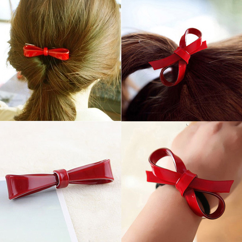 Korean Cherry Red Bowknot Flower Elastic Rubber Hair Band Rope Plastic Hair Clips Hairpin For Women Girls Kids Hair Accessories