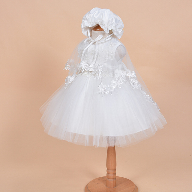 2017 Ball Gown Lace Fashion 3 Pcs/set Baby Girl Dress Christening Dresses 1 Year Birthday Party Newborn Kids Christmas Clothing