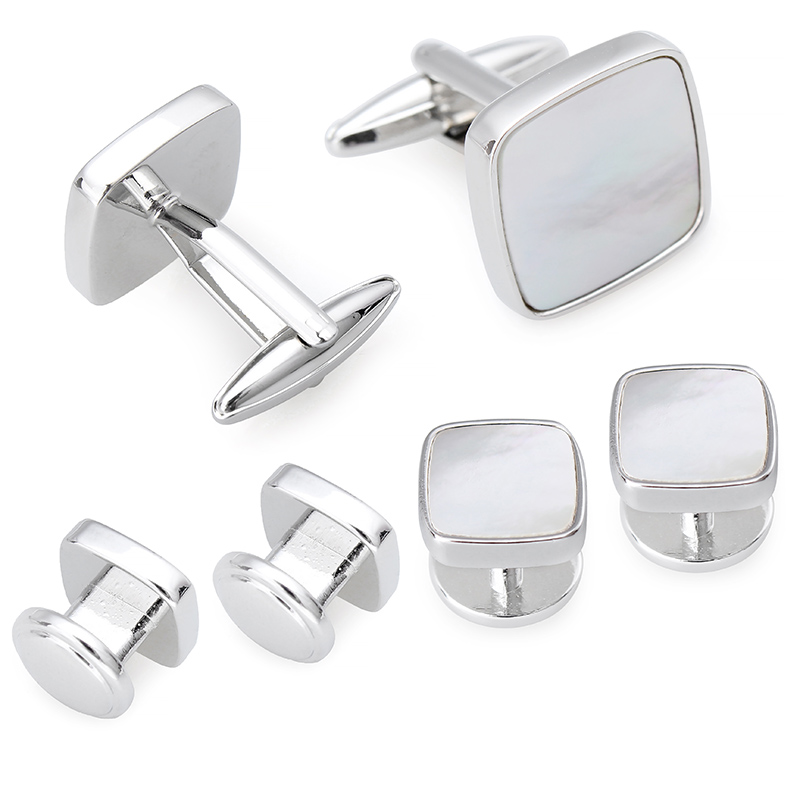 HAWSON  Tuxedo 6 Studs Cufflinks Set Square Mother Of Pearl Cuff Links Men Jewelry Wedding Gift With Boxes