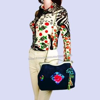 Handmade Tribal Vintage Hmong Ethnic Boho hippie ethnic tote bag handbags Velvet clutch bag SYS-1022