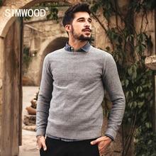 Simwood Новинка 2017 года осень-зима повседневные модный свитер Для мужчин Трикотаж брендовая одежда пуловеры с круглым вырезом Серый Синий MY2047