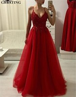 Wine Red Tulle Long Evening Dress 2019 Sexy Spaghetti Strap A Line Beaded Lace Appliques Cheap Prom Dress Special Occasion Gowns