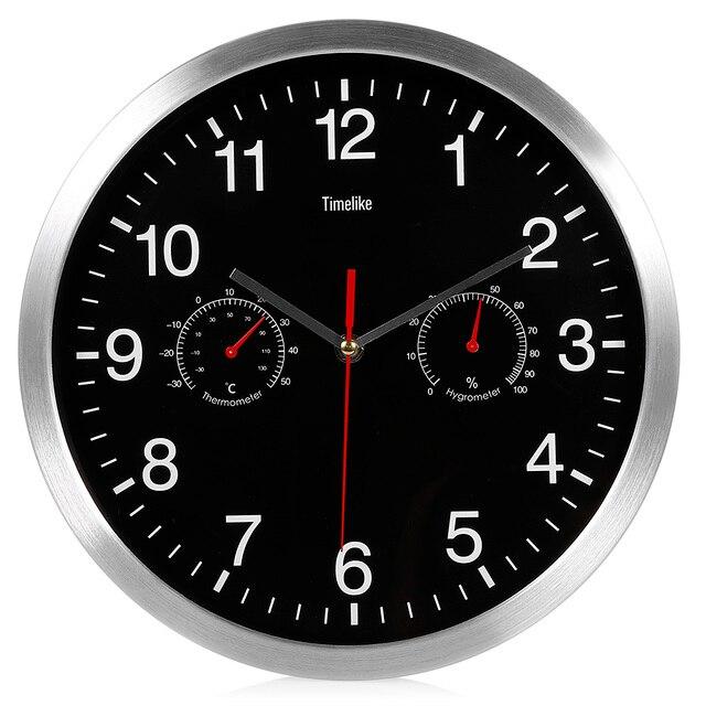 2019 Metal Silent Quartz Wall Clock Quiet Sweep Movement Thermometer Hygrometer No-ticking Home Art Decor New Design HOT