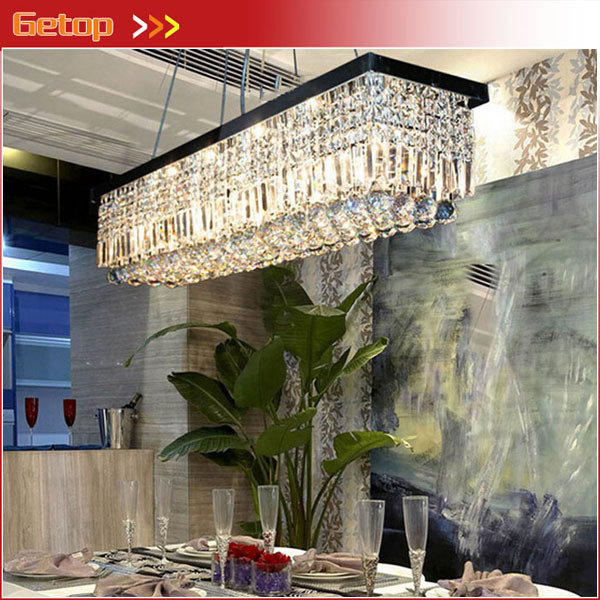 Hot Sale K9 Crystal Chandeliers L47 X W10 X H10 LED Rectangle Lights Crystal Modern Chandelier for Living Room/Restaurant modern crystal chandelier light for dining room e14 crystal chandeliers living room round lights curtain lights wpl091