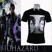 Resident Evil 6 Biohazard 6 T-shirt Adam Kısa Uzun Kollu Tee Leon Cosplay T-shirt Yetişkin Erkek Kostüm Prop Halloween