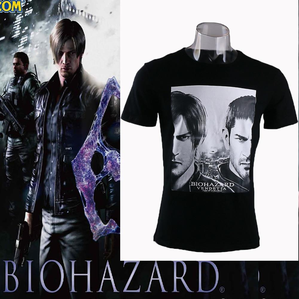 Resident Evil 6 Biohazard 6 T-shirt Man Short Long Sleeve Tee Leon Cosplay T-shirt Adult Boys Costume Prop Halloween