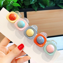 Geometric Candy Colors Crystal Hair Claws Flower Accessories For Women Star Love Square Clips Handmade Bows