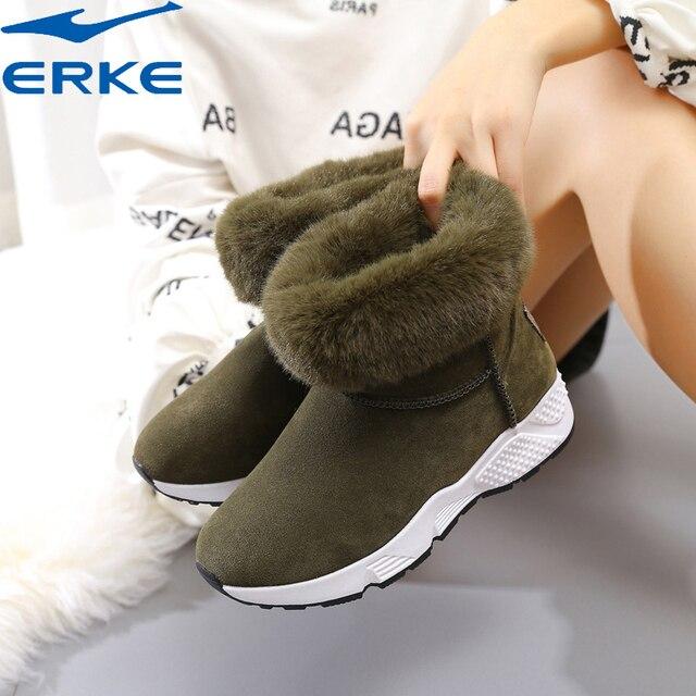 Ерке 2018 новые зимние плюшевые теплые Сапоги и ботинки для девочек с Мех животных Для женщин замшевые Кроссовки высокие женские снегоступах Термальность прогулки Снегоступы jh65