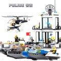 KAZI Bloques de Construcción de Juguetes Educativos Para Niños Policía Acuáticos Estaciones Monta los Ladrillos Legoe Compatible 536 UNIDS