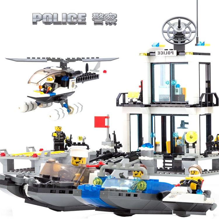 KAZI Building Blocks Educational Toys For Children Aquatic Police Stations Assembles Particles Bricks Legoe Compatible 536PCS