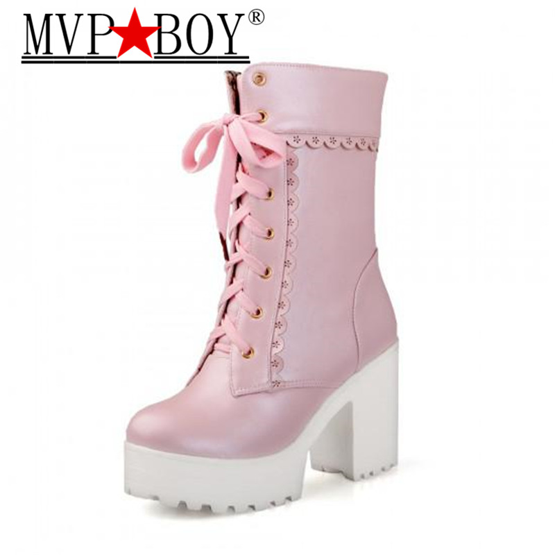 MVP BOY White Black Students Soft Sister Lolita High heeled Boots Cosplay Lace Lolita Sweet Lady