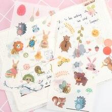 6 folhas/pacote animais bonitos adesivos scrapbooking vara etiqueta diário papelaria álbum etiquetas etiquetas escola material de escritório