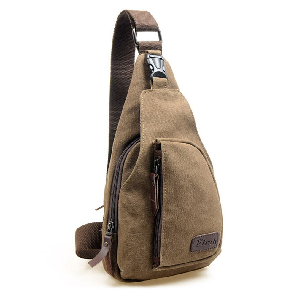 5 Pcs Of Men's Canvas Unbalance Backpack Shoulder Sling Chest Bicycle Bag (Coffee)