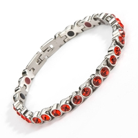 Healing Magnetic Bracelet Woman 316L Stainless Steel Health Care Elements Magnetic FIR Germanium Red Zircon Bracelet