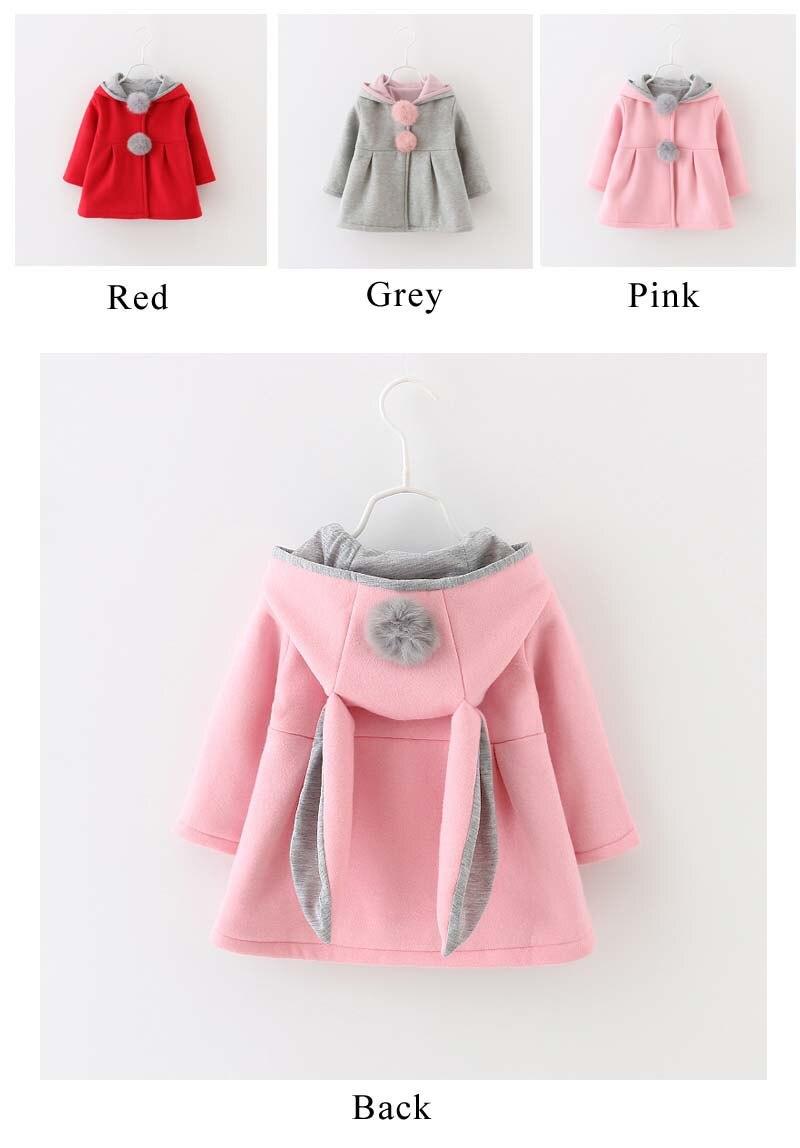 Autumn Winter Baby Outwear Infants Girls Cute Rabbit Hooded Princess ...