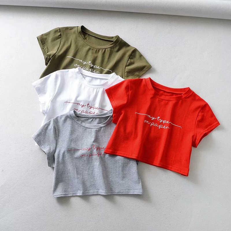 אמריקאי ואירופאי נשים O-צוואר Loose קדמי מכתב מודפס מקרית יבול קצר שרוול למעלה חולצה 4 צבעים נשים קיץ למעלה טי