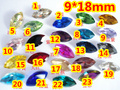 23Colors 210pcs/Lot 9*18mm Navette Glass Crystal Fancy Stone Marquise Horse Eye Pointback Crystals beads