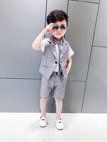 2018 New Summer Toddler Baby Costume Set Boy Wedding Dress Gentleman Shirt + Vest + Shorts 3pcs Children's suit Free Shipping
