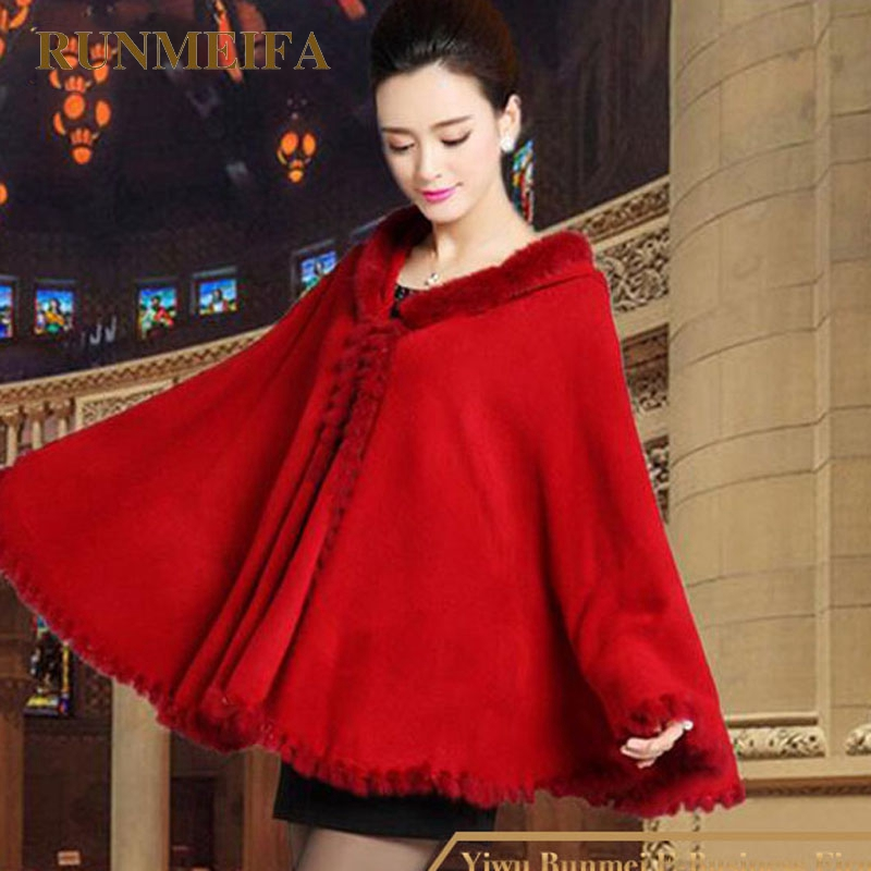Winter Pashmina Warm thick shawl with imitational fake fox fur collar trim Oversized knitted Wool Women capes wraps