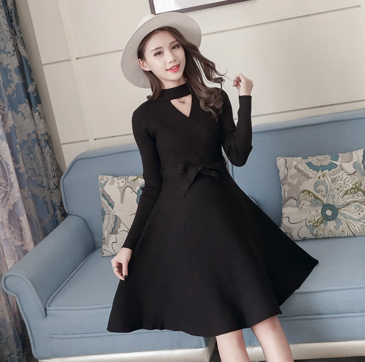 KINE PANDA Sexy Pregnancy Clothes for Pregnant Women Maternity Dresses Fall Winter Woman Dress Breastfeeding Long Knit Sweater