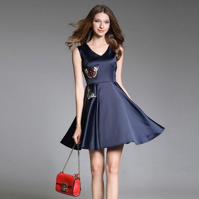 2018 summer blue Chiffon Embroidery Sleeveless Ball Gown short dress ...