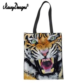 Tiger Lion Lady Women's Large Shopping Tote Bag Canvas Handbag Shoulder Bag Female Girls Cute Dachshunds Print Beach Bag rope canvas print beach bag