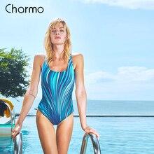 Charmo Women One Piece Swimwear Geometry Print Colorblock Swimsuit Bathing Suit Monokini striped sport swimwear