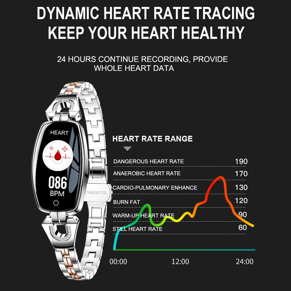 MNWT H8 Fashion Smart Wristwatches Women Digital Watches Ladies 2019 Waterproof Heart Rate Monitoring Bluetooth For