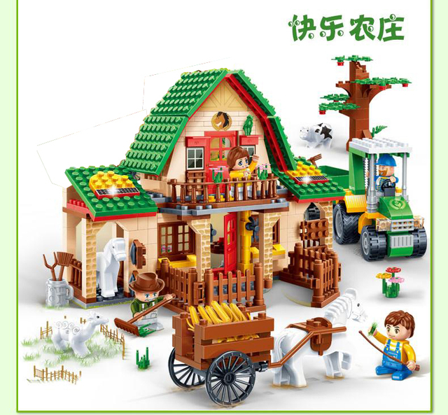 8579 541 Pcs Banbao Happy Farm Building Block Toys 8579 Farmer Kids Educational Toys Gift DIY Bricks Compatible With Toys