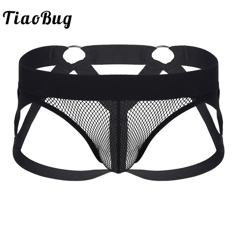 TiaoBug Black <font><b>Men</b></font> Underpants Transparent <font><b>Fishnet</b></font> Penis Bulge Pouch Open Back Jockstrap <font><b>Briefs</b></font> Hot <font><b>Sexy</b></font> <font><b>Men</b></font> Gay Bondage <font><b>Underwear</b></font> image