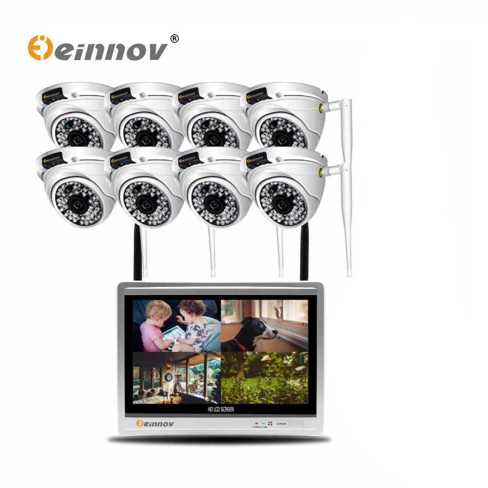 Einnov 8CH 2MP CCTV Set Wireless Security Camera System Video Surveillance IP Camera 12inch LCD NVR Kit Outdoor Dome IR Light HD