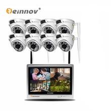 Einnov 8CH 2MP CCTV zestaw bezprzewodowa kamera do monitoringu System nadzoru wideo kamera IP 12 cal LCD zestaw monitoringu NVR kopułkowa zewnętrzna lampa IR HD