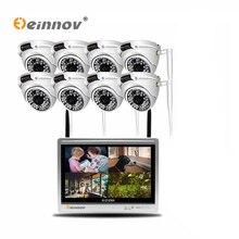 Einnov 8CH 2MP ชุดกล้องวงจรปิดไร้สายกล้องรักษาความปลอดภัยการเฝ้าระวังวิดีโอกล้อง IP 12 นิ้ว LCD NVR Kit โดมกลางแจ้ง IR HD