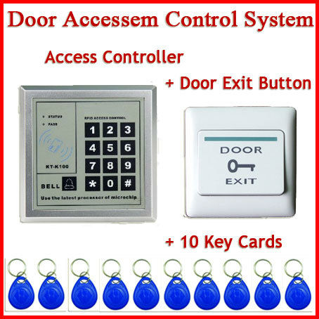 Freeshipping Access Control System with Door Exit Push Button Switch 10 key rfid id card
