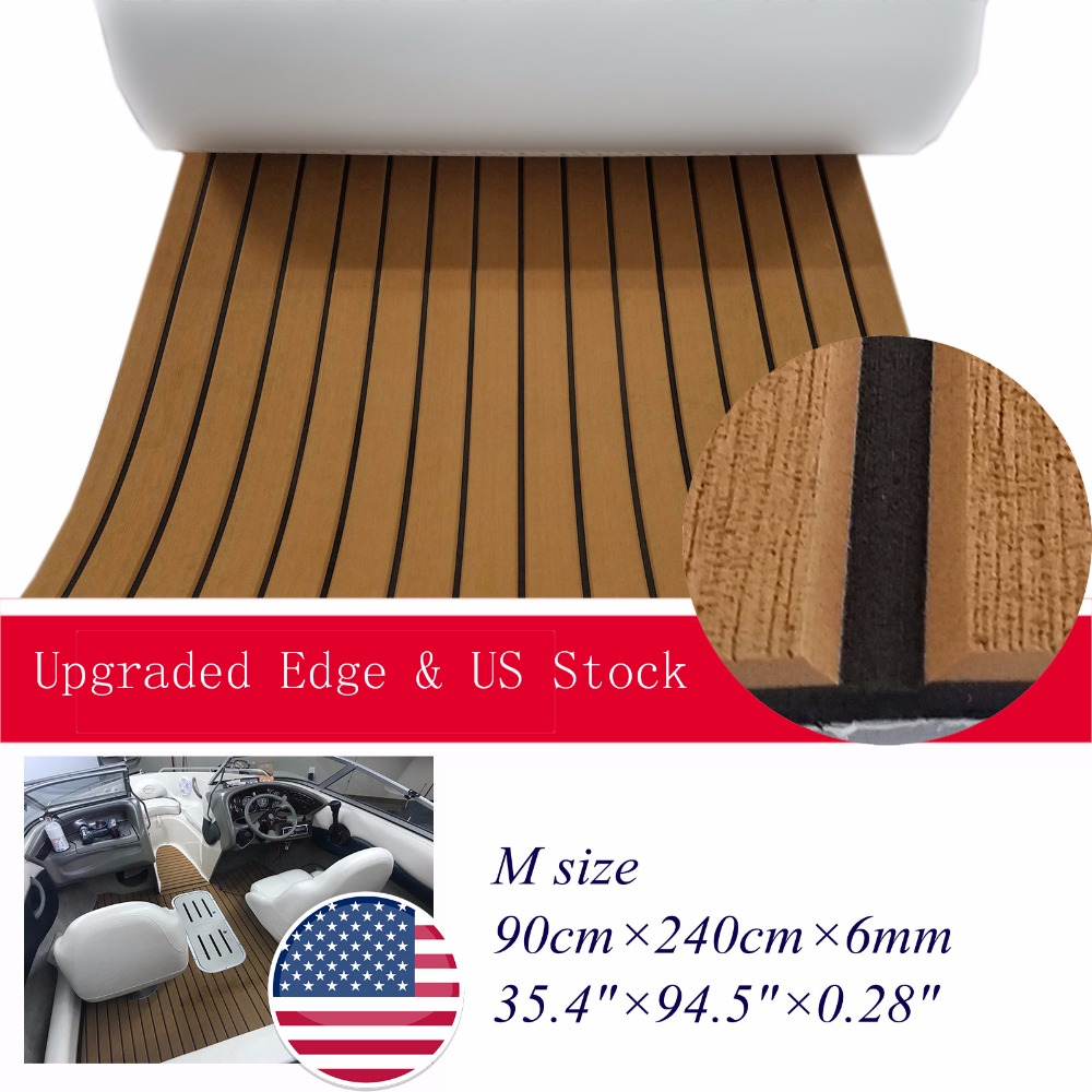 """מערכות ניווט משודרג גיליון סירה טיק הסיפון ימית יאכטות ריצוף חדרים- slip השטיח Mat 90cm240cm / 35.4 """"94.5"""" אביזרים שחור חום בהיר (1)"""