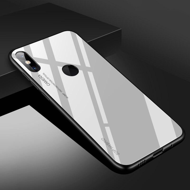 Для Xiaomi mi A1 a2 6 5x 6x mi x 2 note3 стеклянный чехол, силиконовый ударопрочный роскошный чехол из закаленного стекла для Xiaomi mi x 2s - Цвет: white