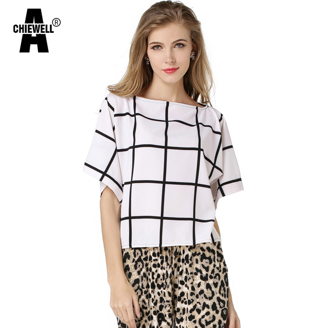 a3d2b2043e63 Achiewell Summer Casual Loose Women Blouses Shirts Boat Neck Bat Sleeves  Black Stripes Check Pattern White Chiffon Blouse Tops