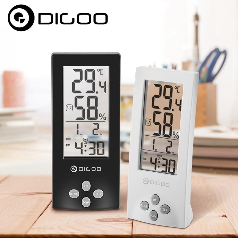 Digoo DG-TH1177 Wireless Digital Transparent Screen Indoor Hygrometer Thermometer Sensor Timer Alarm Clo-ck Smart Home Kits digoo dg th1180 home comfort indoor outdoor glass panel thermometer hygrometer alarm temperature humidity monitor