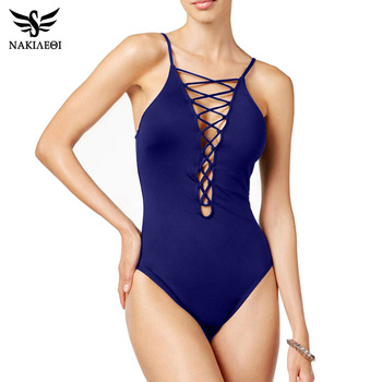 NAKIAEOI 2018 Sexy One Piece Swimsuit Women Swimwear Bodysuit Bathing Suit Vintage Beach Wear Bandage Monokini Swimsuit Black XL