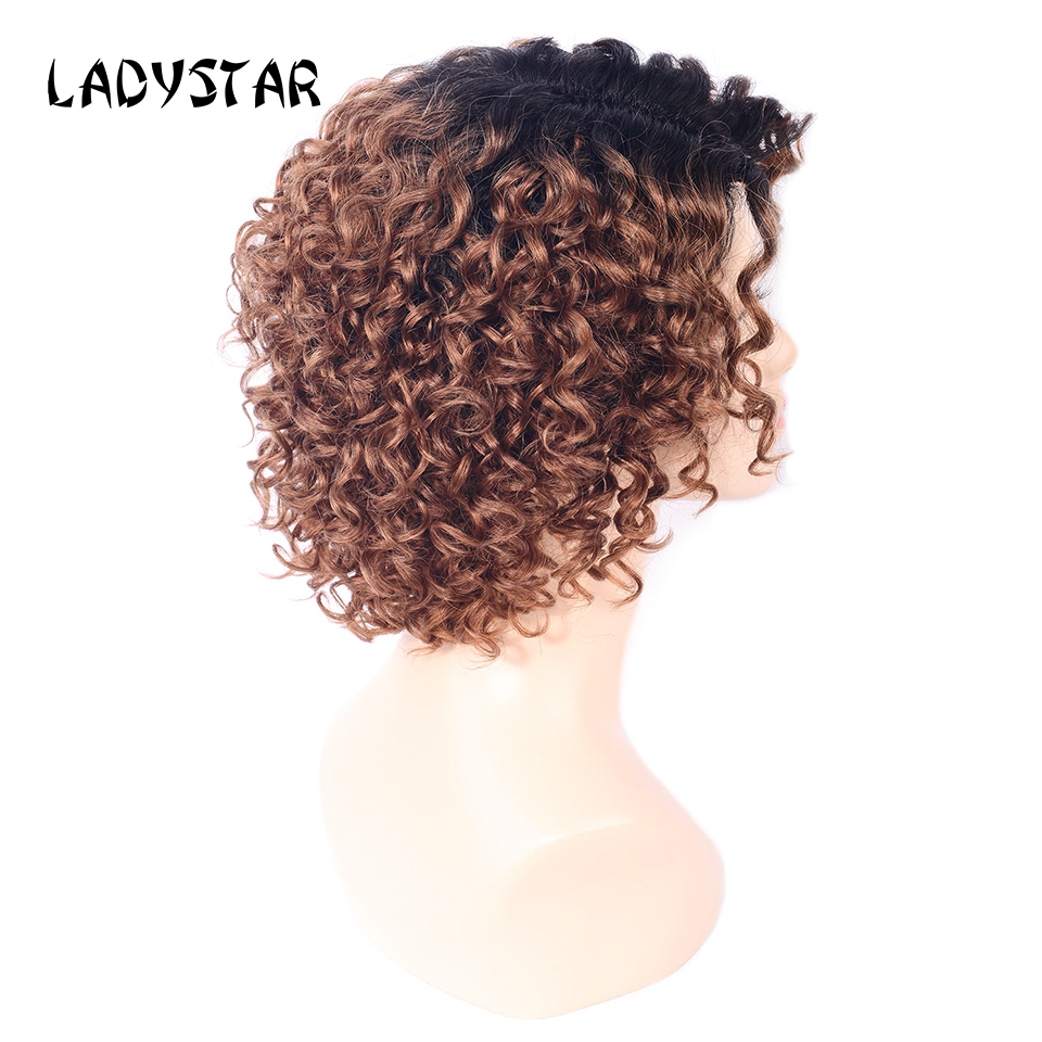 LADYSTAR Remy Hair Wigs Short Bob Curly Wigs 100 Percent Human Hair Wig Part Hand Made Ombre Color TB/30 Black/Brown Wig 8 Inch