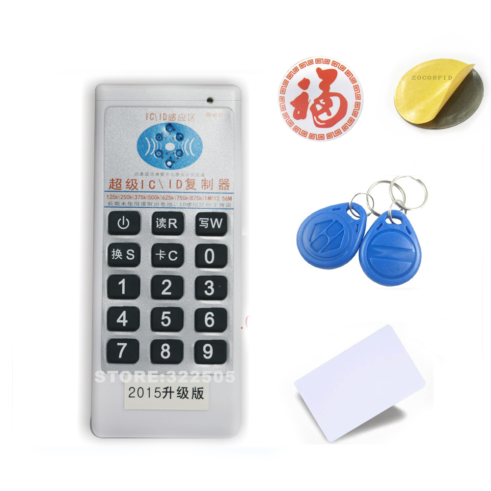 English ver Handheld 125Khz-13.56MHZ 5 frequency  RFID Duplicator/Copier Writer+11pcs 125KHZ cards +11pcs 13.56MHZ IC(UID) card archetype transparent ver she