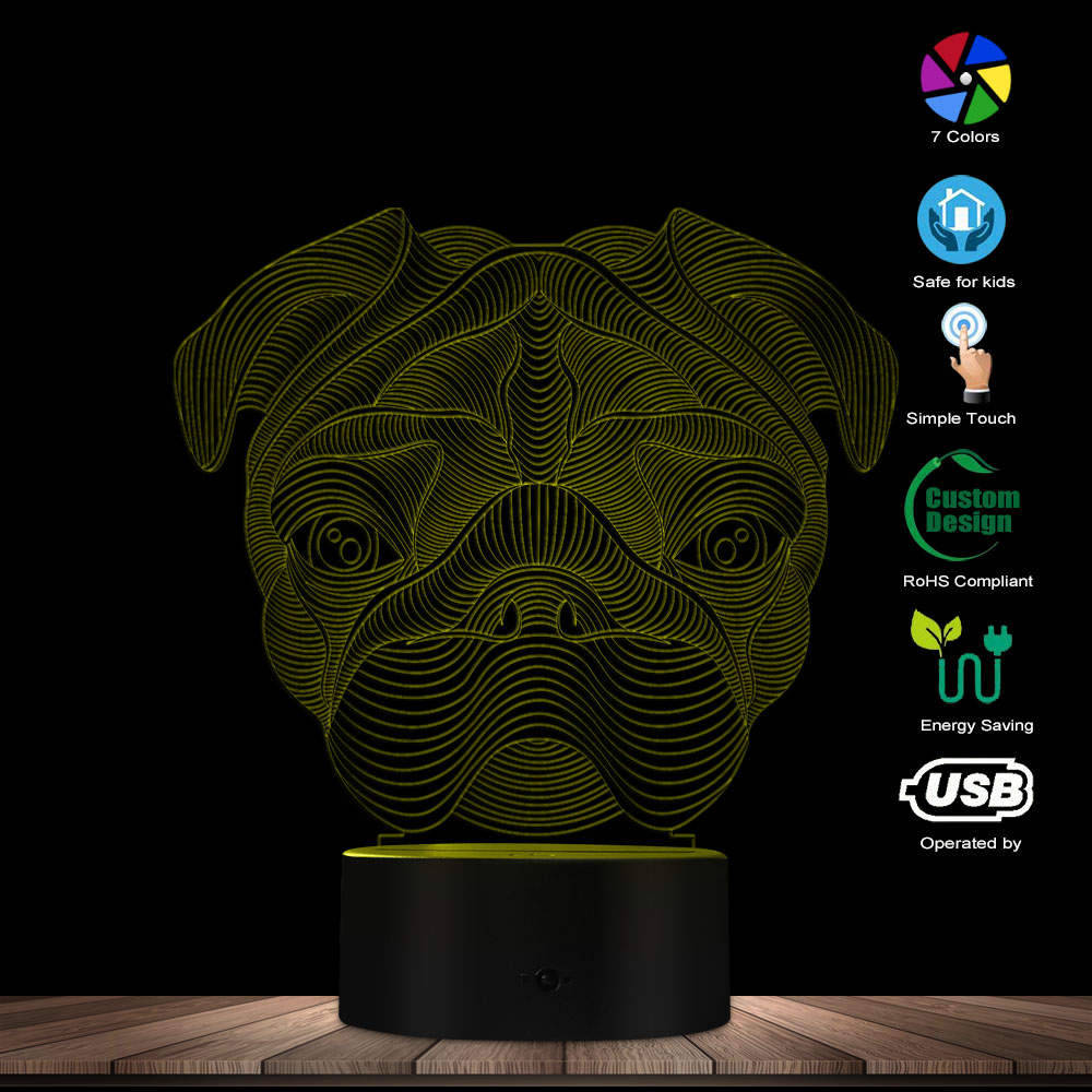 3D Lovely French Bulldog Pug Shape Novelty Table Lamp LED Night Light Home Decor Pet Dog Puppy Animal 3D Optical Illusion Light