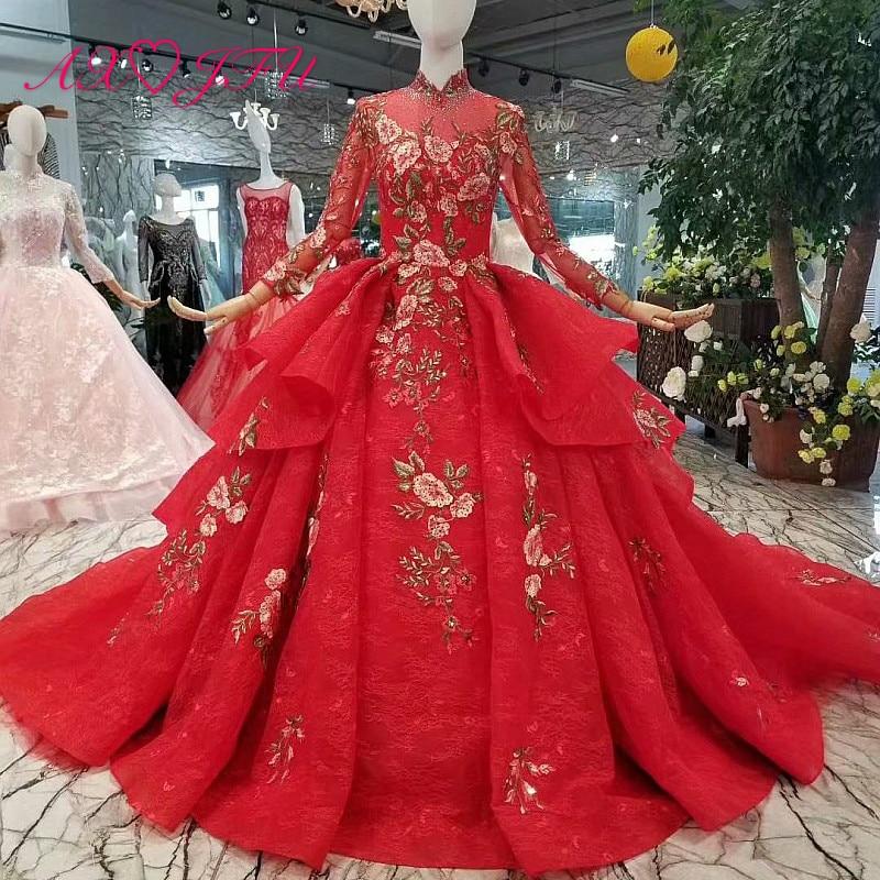 Vintage Wedding Dresses Red: AXJFU Princess Red Flower Beading Lace Wedding Dress
