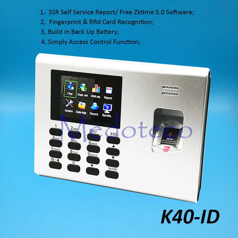 10 PCS ZK K40-ID TCP/IP Fingerprint Time Attendance With 125khz Rfid Reader SSR Back Up Battery Employee Electronic Attendance