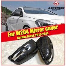 C-Class W204 Side Mirror Cover Cap 2-Pcs 1:1 Replacement True Carbon Fiber Black For Mercedes C180 C200 C250 C63 Look 2010-2014 mercedes w204 c63 carbon fiber side skirt bumper lip for benc c class c63 2012 2014