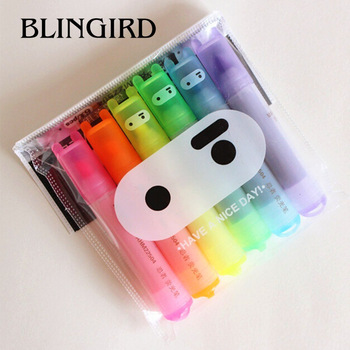 6PCS/Set Rabbit Mini Fluorescent Highlighter Pen Kawaii Chalk Marker Pens Stationery Material Escolar Papelaria School Supplie